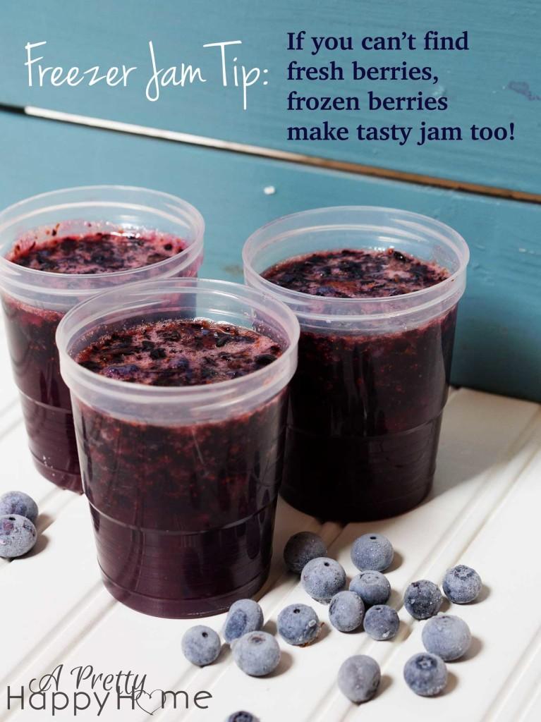 Blueberry Freezer Jam With Frozen Berries A Pretty Happy