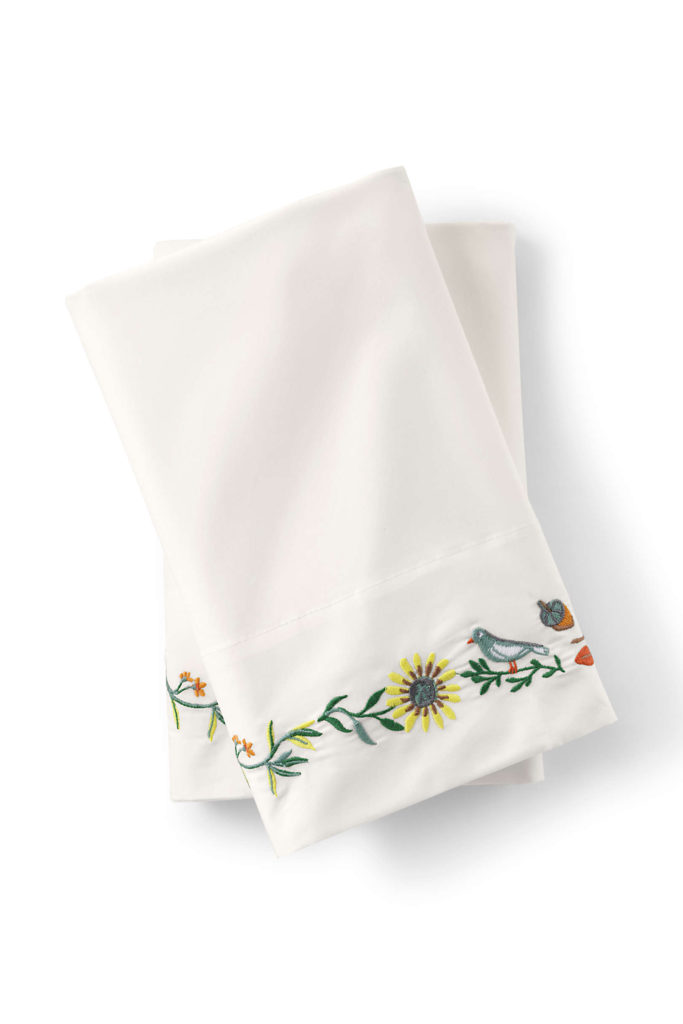 lands end embroidered pillowcases multi harvest